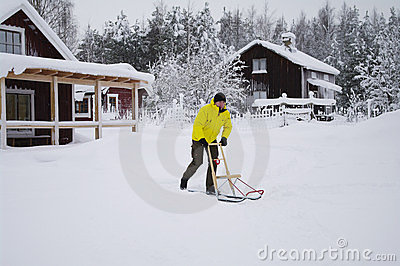 Kick off sled in Sweden