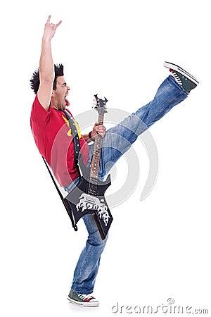 Kicking and screaming guitarist