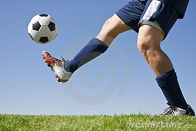 Kicking a soccer ball