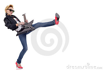 Kicking woman guitarist