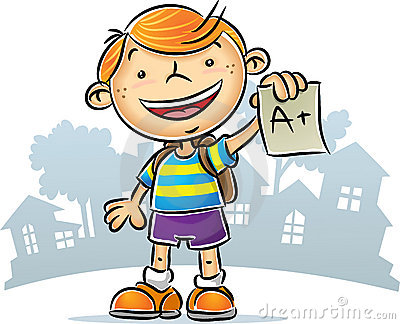 Illustration of Kid showing his A+ report.
