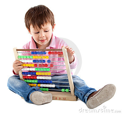 Kid with an abacus