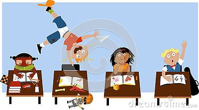 Kid with ADHD at school Vector Illustration