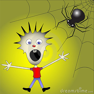 Kid afraid of spider