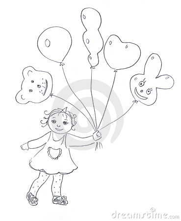 Kid with air balloons sketch