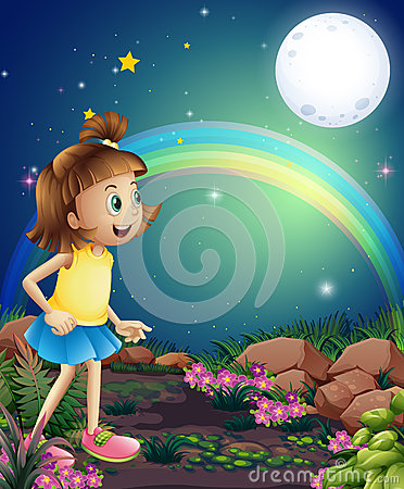A kid amazed by the sight of the rainbow and the fullmoon