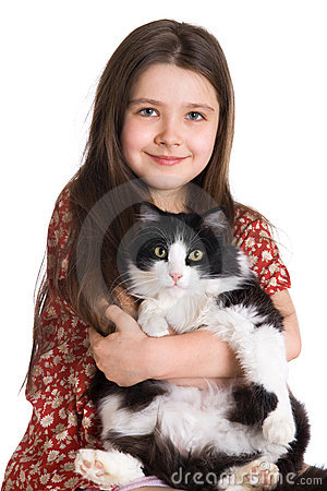 Free Kid And Fluffy Cat Royalty Free Stock Images - 4396409