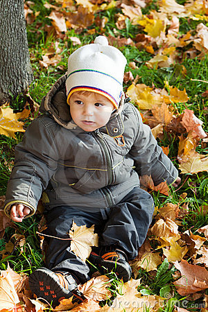 Kid in autumn wood