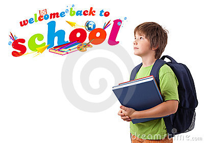Kid with back to school theme isolated on white