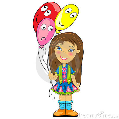 Kid with balloon. baby girl at birthday party
