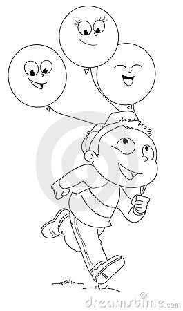 Boy with balloons vector