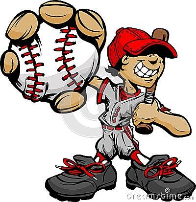Kid Baseball Player Holding Baseball and Bat
