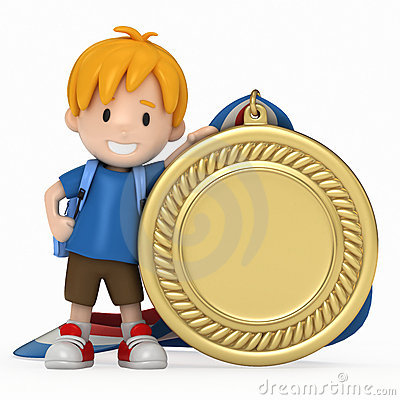 kid with big medal stock photos image 20786113