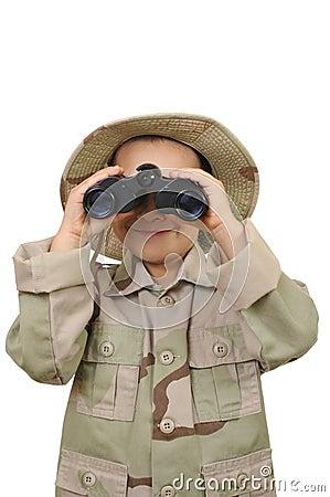 Kid and binoculars