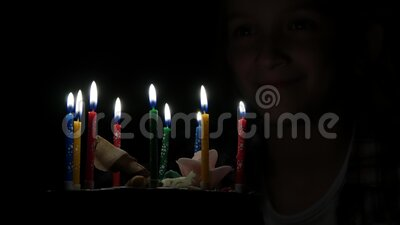 Kid Birthday Party Blowing Candles in Night, Child Celebration, Teenager Girl Anniversary in Dark.  stock footage