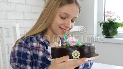 Kid Birthday Party, Child Received a Cake as Gift for her Anniversary, Children Celebration.  stock video
