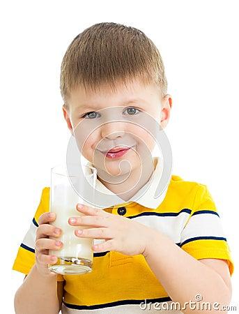 Kid drinking milk isolated