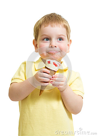 Kid boy eating ice cream with pleasure isolated