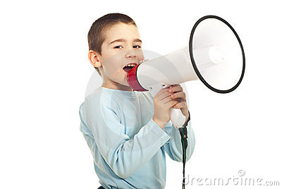 Kid boy shouting megaphone
