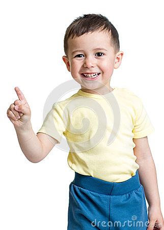 Free Kid Boy Showing The Number One With Hand Stock Image - 41019021