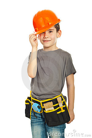 Kid boy wearing helmet