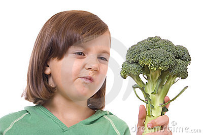Kid with broccoli