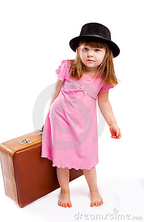 Kid carrying suitcase