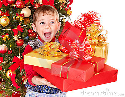 Kid with Christmas gift box.