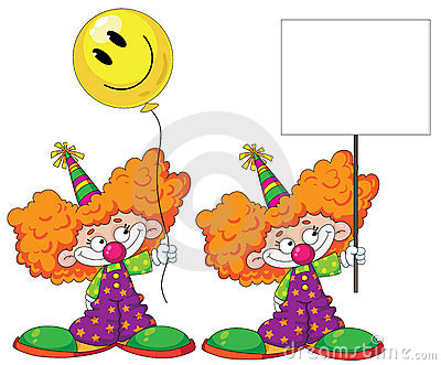 Kid clown with baloon and blank sign