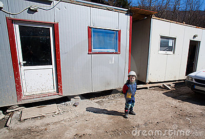 Kid on construction site