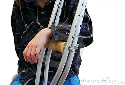 Kid and crutches