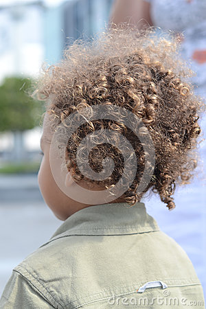 Kid curly hair back
