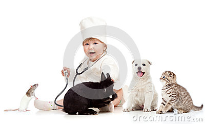 Kid doctor examining pets dog, cat, bunny and rat