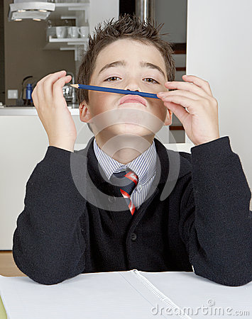 Kid doing homework at home