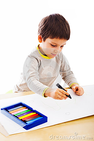 Kid drawing in colors