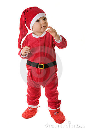 Kid dressed as Santa Claus.