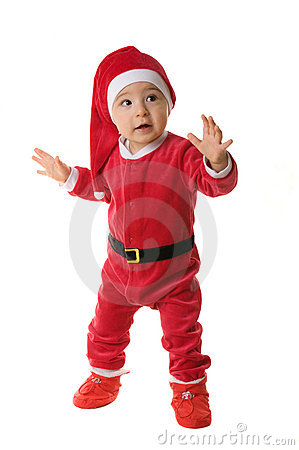 Kid dressed as Santa Claus