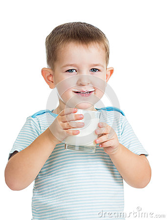 Kid drinking yogurt or kefir isolated on white