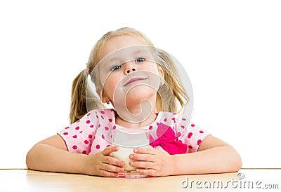 Child drinking yoghurt or milk