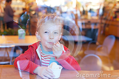 Kid eating ice cream