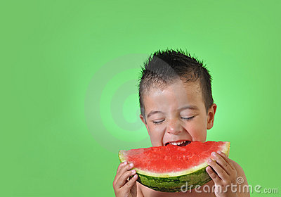 Kid eating watermelon
