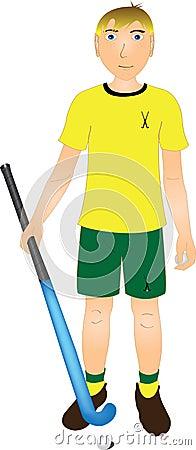 Kid with field hockey stick