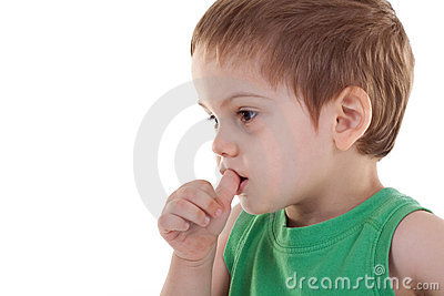Kid with finger in his mouth