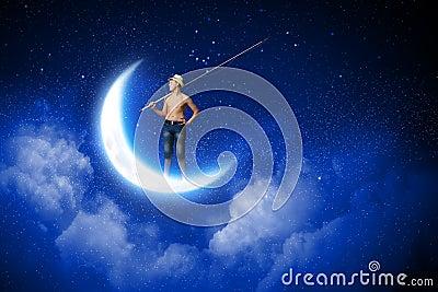 Kid fisherman stock photo image 45950170 for Fishing rod sun and moon