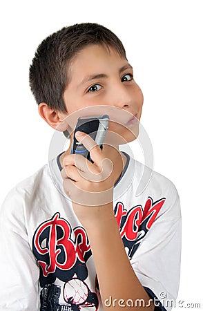 Kid fun and shaving cheek with razor