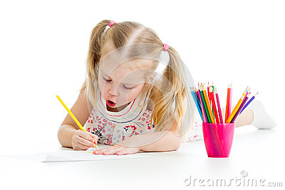 Kid girl drawing pencils