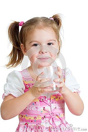 Kid girl drinking yogurt or kefir over white