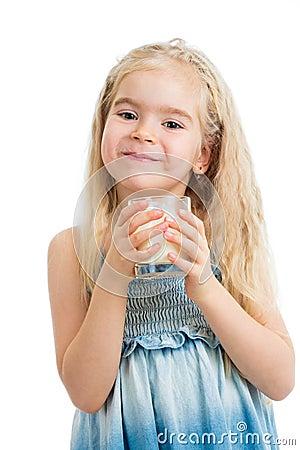 Kid girl drinking yogurt or milk