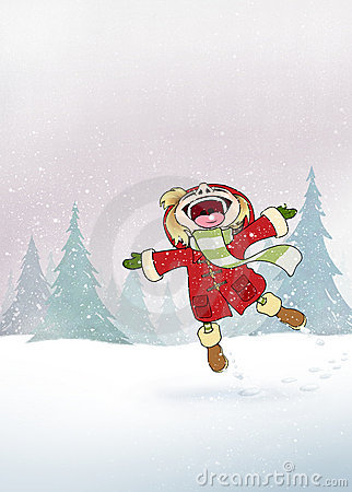 A kid - girl Enjoy the Snow in the woods