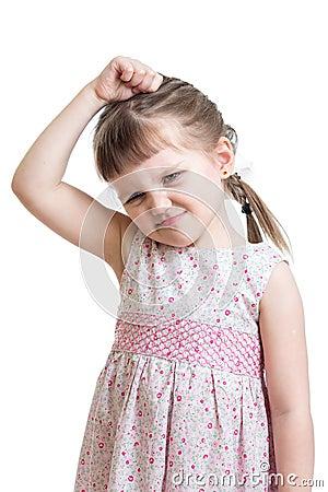 Kid girl having bad mood isolated